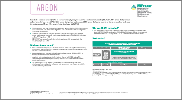 Screenshot of fact sheet for the ARGON study