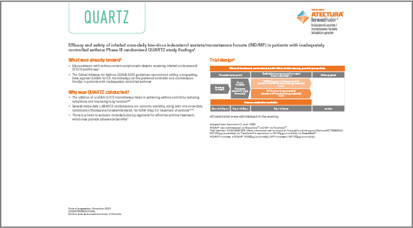Screenshot of fact sheet for the QUARTZ study