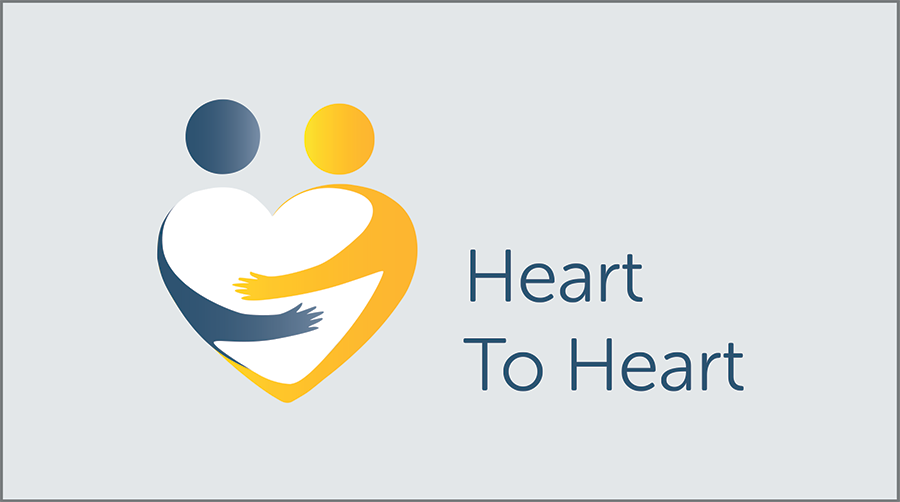 Heart to heart icon and text