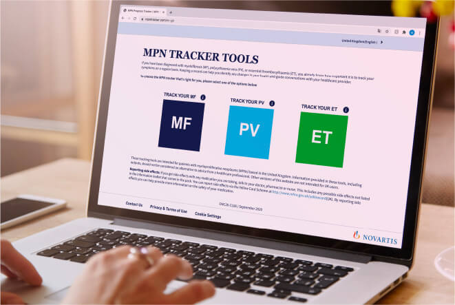 Promotional box with image of person typing on laptop with text Help patients monitor symptoms with the MPN10 Tracker
