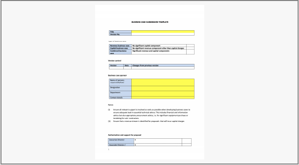 Thumbnail of NHS BUSINESS CASE SUBMISSION TEMPLATE
