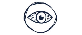 Hand drawn icon of previous uveitis eye