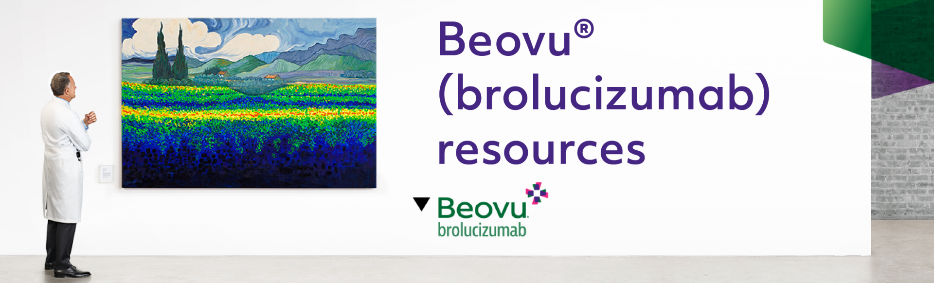 Top banner. Beovu Resources. Image of a scientist looking at a painting.