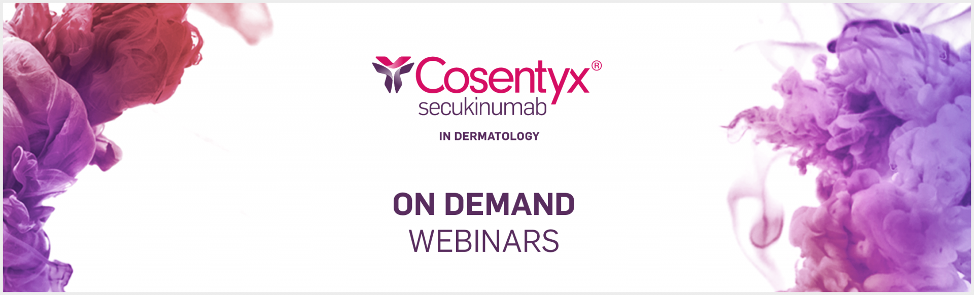 Cosentyx On-Demand Webinars. Image of coloured smoke.