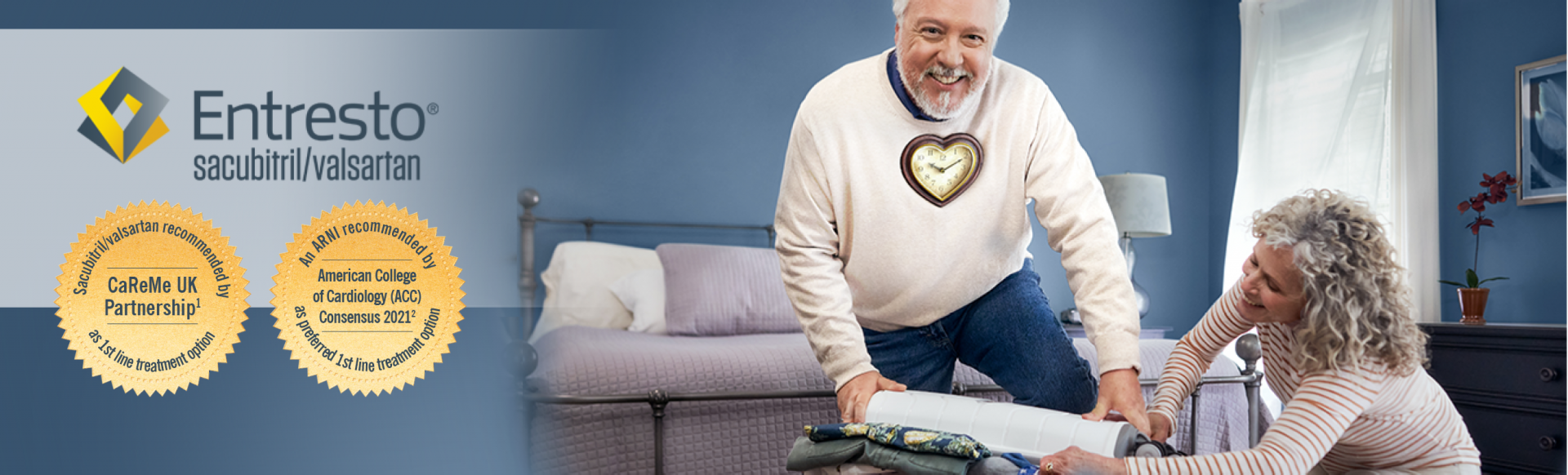 Top banner. Branded banner. Entresto sacubitril/valsartan. Image of a man smiling with a heart-shaped clock on his chest, with a woman smiling and packing a suitcase.