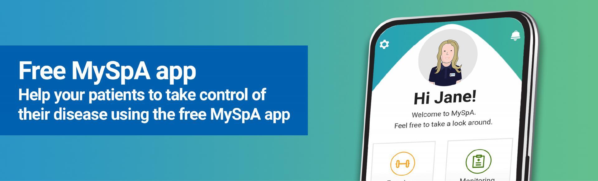 Top banner. Free MySpA app.