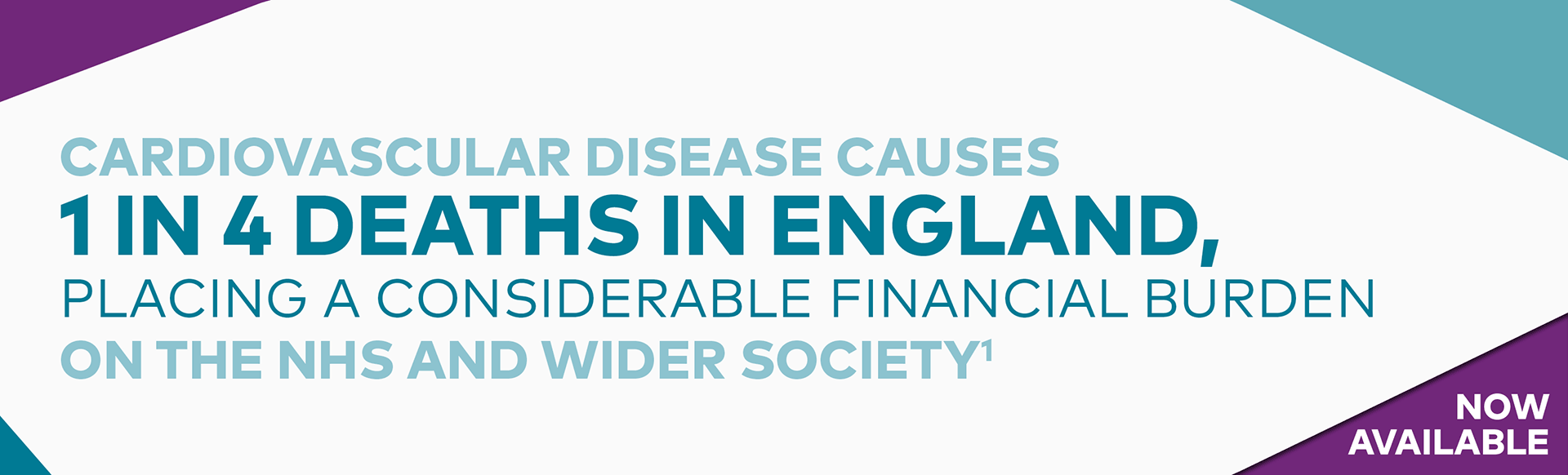 Top banner. Branded banner: Cardiovascular disease causes 1 in 4 deaths in England, placing a considerable financial burden on the NHS and wider society.