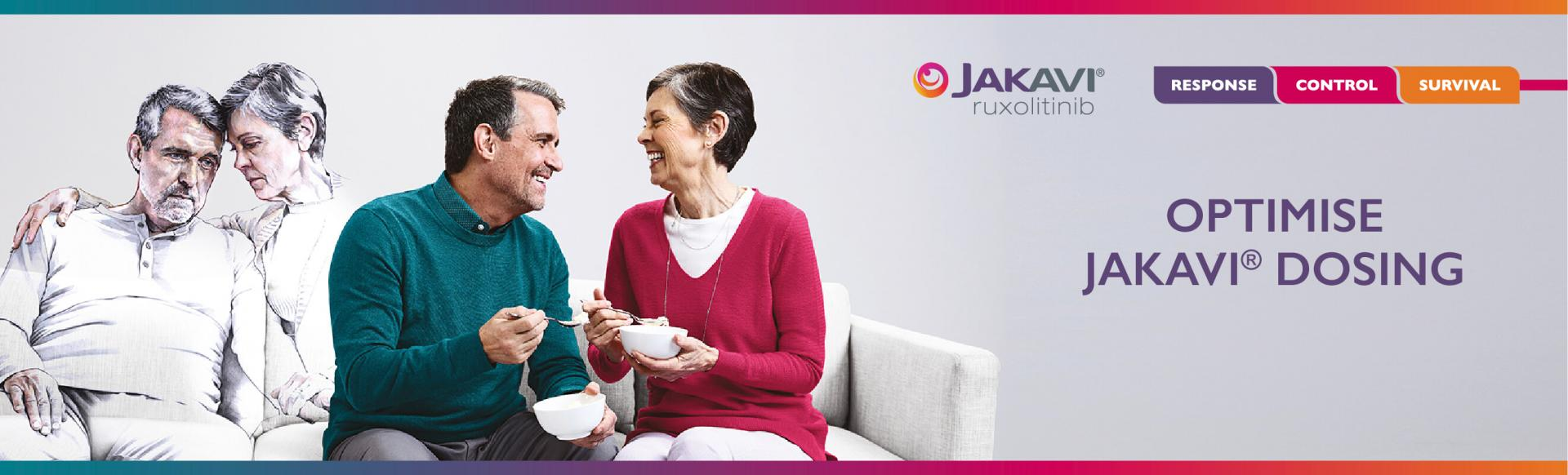 Top banner. Branded banner: Image of a colourless couple on a sofa and another couple in colour beside them with the text,  Optimise Jakavi dosing