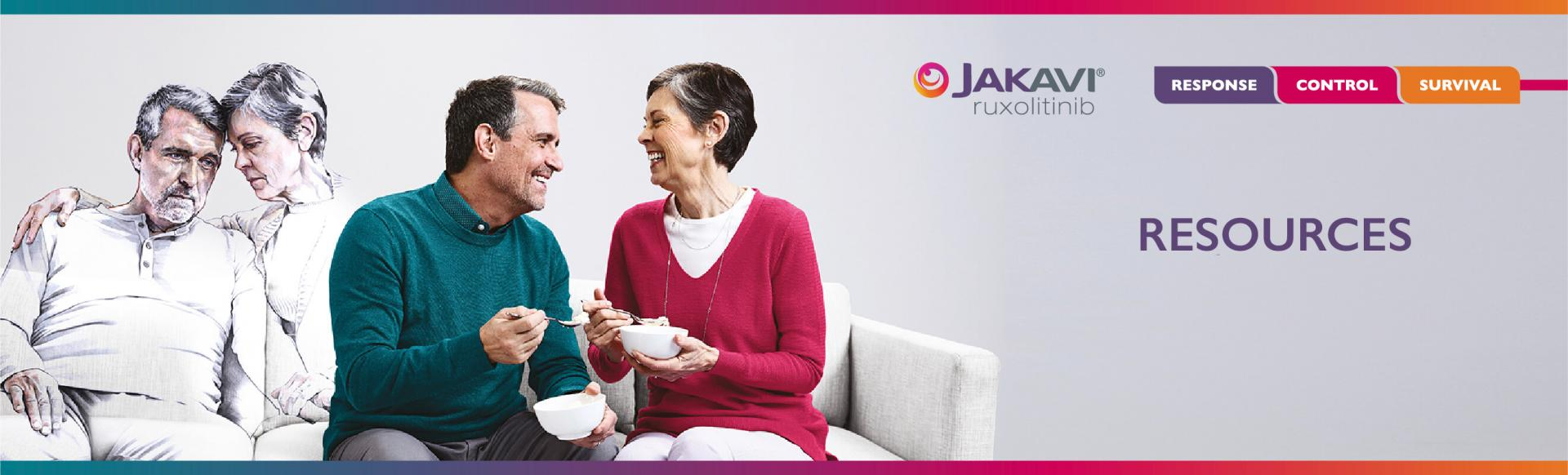 """Top banner. Branded banner: Image of a colourless couple on a sofa and another couple in colour beside them with the text,  """"Resources"""""""