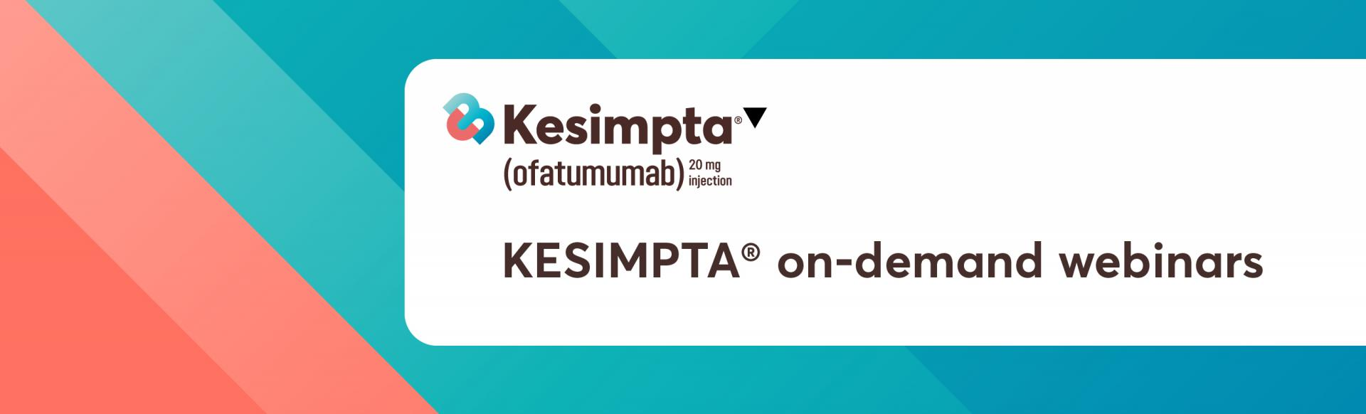 Top banner. Kesimpta branded banner. Kesimpta on-demand webinars.