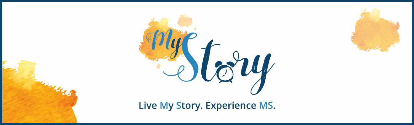 Top banner. Image with the words 'My Story. Live my story. Experience MS.