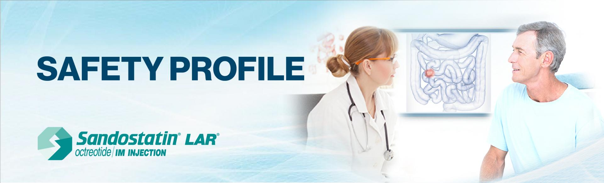 """Top banner: Image of a doctor and patient facing each other, with a picture of the human intenstines on the wall behind them. Superimposed on top of the image is the drug name,  """"Sandostatin LAR octreotide acetate"""" and the brand logo"""