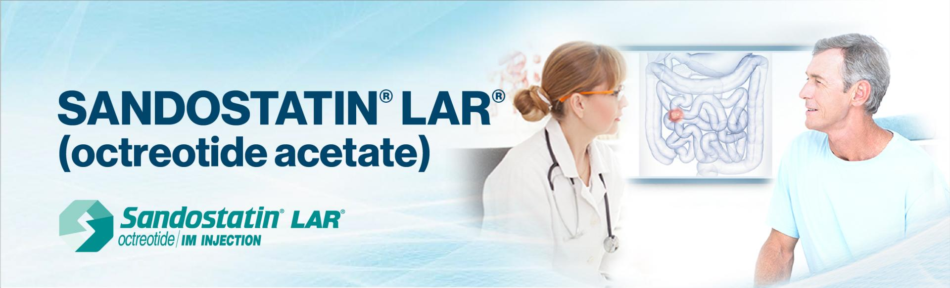 """Top banner: Image of a doctor and patient facing each other, with a picture of the human intenstines on the wall behind them. Superimposed on top of the image is the drug name,  """"Sandostatin LAR octreotide acetate"""""""