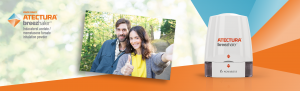 Branded banner. Couple taking selfie giving thumbs up next to image of Atectura inhaler