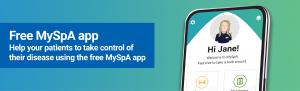 Free MySpA app. Help your patients to take control of their disease using the free MySpA app