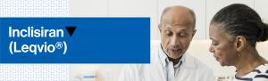 Top banner. Image of a doctor with a patient. Product name.