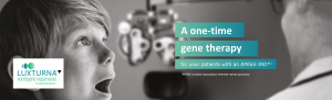 op banner. Branded banner with the words 'THE FIRST APPROVED GENE THERAPY FOR AN INHERITED RETINAL DYSTROPHY' and 'A future of possibilities for your patients with an RPE65 mutation-associated inherited retinal dystrophy'.