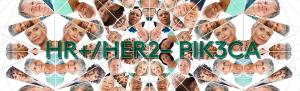 Top banner. The words 'HR+/HER2- PIK3CA' and an image of a woman