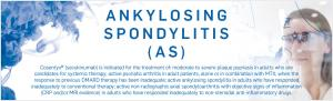 Top banner. The words 'Ankylosing spondylitis' and an image of a scientist.