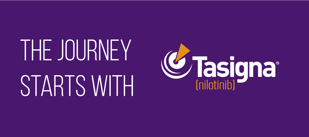 Image with the words 'the journey starts with Tasigna'